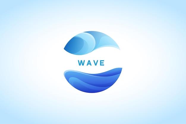 Empresa de logotipo de gradiente de agua de onda azul
