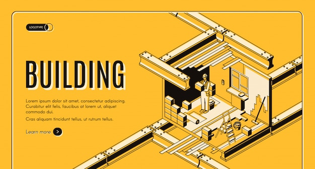 Empresa moderna de la industria de la construcción isométrica web banner