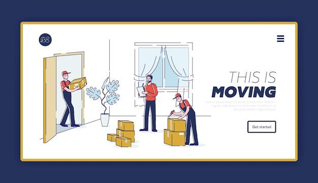 Empresa de mudanzas con trabajadores descargando cajas durante la reubicación de la casa