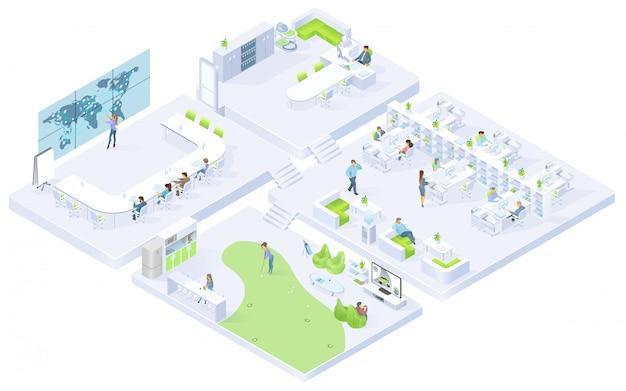 Empresa oficina salas isométricas vector interiores