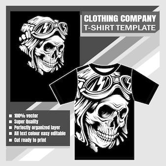 Empresa de ropa, plantilla de camiseta, cráneo con dibujo de mano de casco retro
