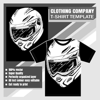 Empresa de ropa, plantilla de camiseta, dibujo a mano de casco