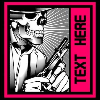 Empresa de ropa, plantilla de camiseta, gángster cráneo con pistola