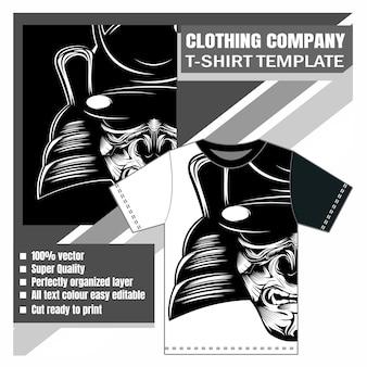 Empresa de ropa, plantilla de camiseta, samurai