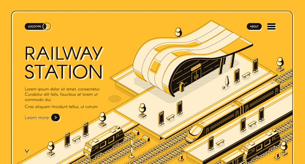 Empresa de transporte ferroviario isométrica web banner