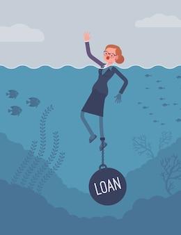 Empresaria ahogada encadenada con un préstamo de peso