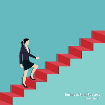 Empresaria caminando por la escalera hasta la meta