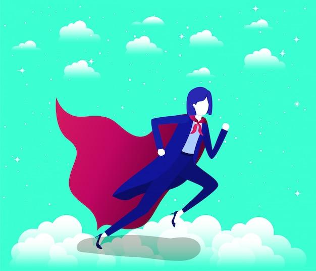 Empresaria con capa de héroe corriendo en el cielo