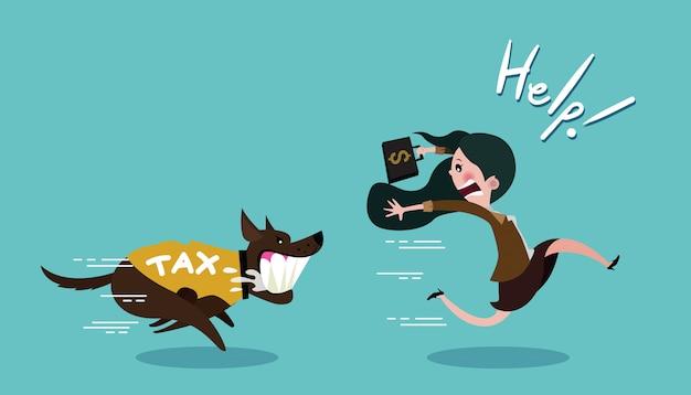 Empresaria cargando dólares y huir del perro en camisa impuesto