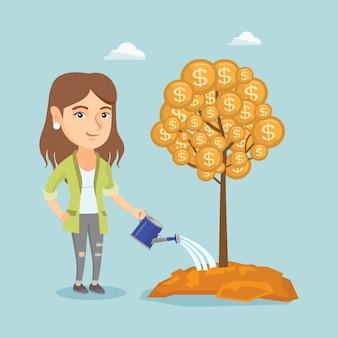 Empresaria caucásica regando el árbol del dinero.