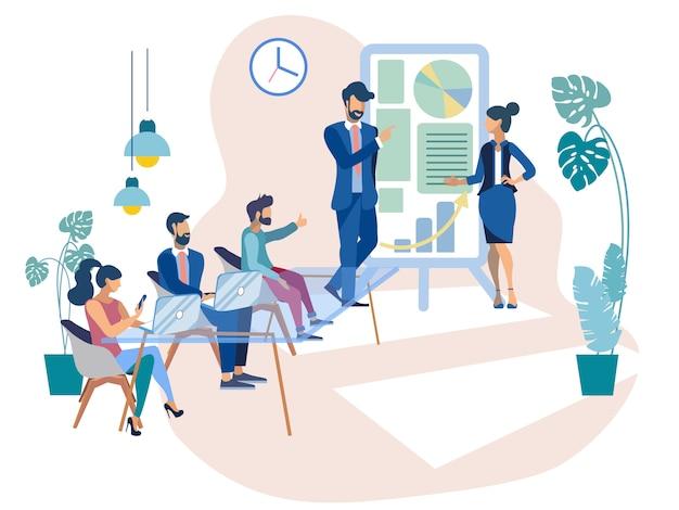 Empresaria coach has presentation en la oficina.