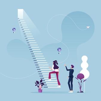 La empresaria comienza a subir la escalera para el concepto de carrera empresarial de éxito