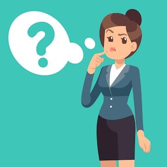Empresaria confundida pensando chica y nube con signo de interrogación. negocio