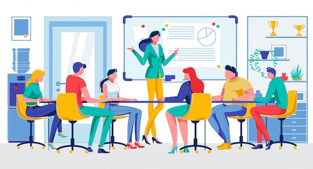 Empresaria de dibujos animados celebrar reunión en sala de oficina