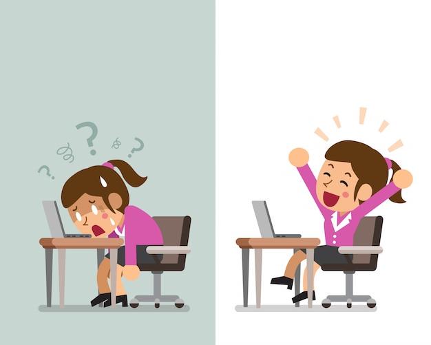 Empresaria de dibujos animados expresando diferentes emociones