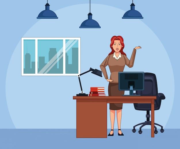 Empresaria de dibujos animados en el fondo del paisaje de oficina