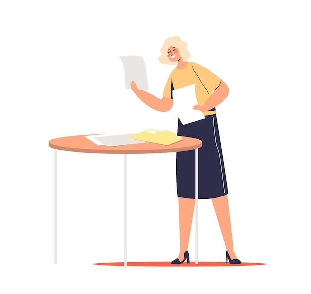 Empresaria de dibujos animados leyendo documentos y documentos comerciales sonriendo feliz. secretaria o gerente femenina con concepto de papeleo de oficina.
