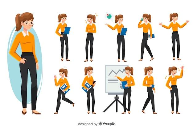 Empresaria con diferentes posturas