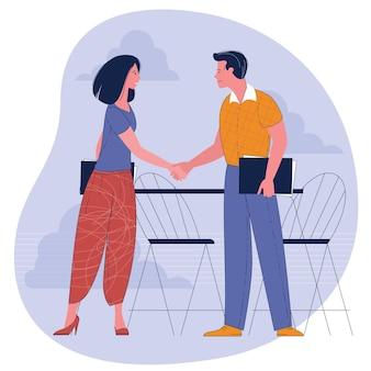 Empresaria y empresario estrecharme la mano. ilustración de concepto empresarial.