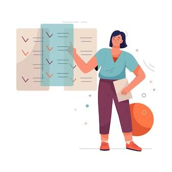 La empresaria se encuentra junto a enormes listas de tareas pendientes