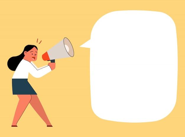 Empresaria gritando y gritando con megáfono, ilustración vectorial de dibujos animados.