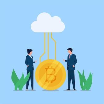 La empresaria y el hombre discuten sobre la metáfora criptográfica de la criptomoneda.