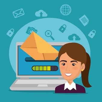 Empresaria con iconos de marketing por correo electrónico