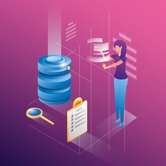 Empresaria con iconos de red del centro de datos