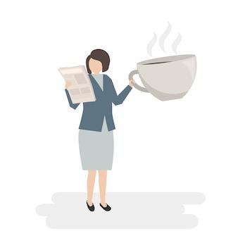 Empresaria ilustrada con café