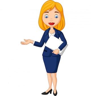 Empresaria joven de dibujos animados sosteniendo un archivo de documento