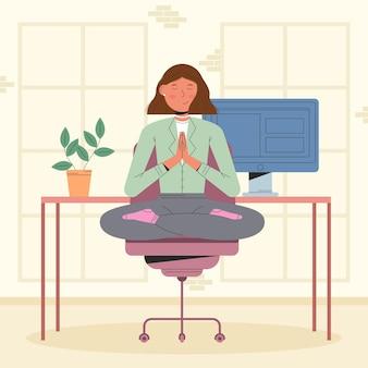 Empresaria meditando ilustración plana