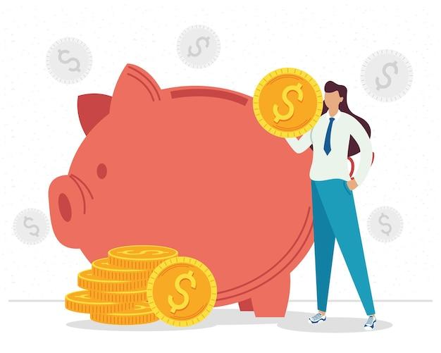 Empresaria con monedas y alcancía