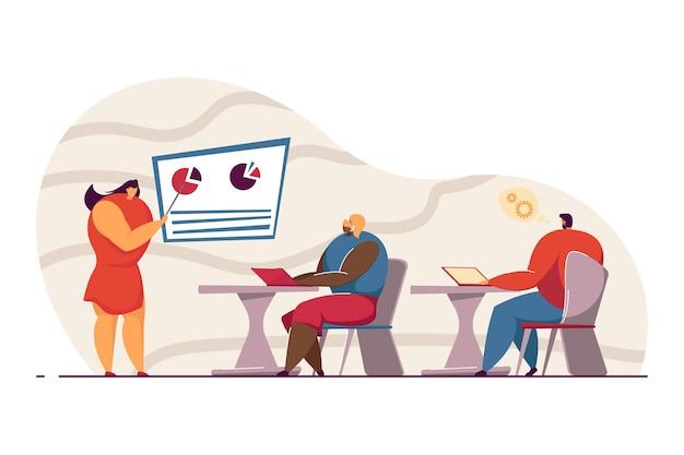 Empresaria mostrando informe financiero o de venta a colegas. presentación, formación, trabajo en equipo ilustración vectorial plana. proceso de negocio, concepto de tecnología para banner, diseño de sitios web, página de destino