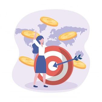 Empresaria y objetivo con flecha y monedas con mapa global