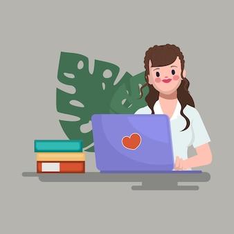 La empresaria con ordenador portátil en el escritorio