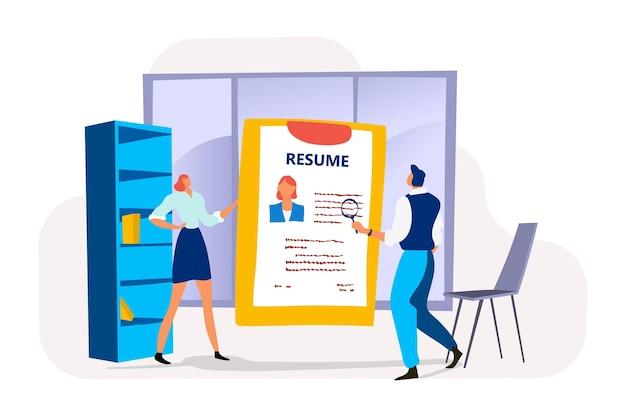 Empresaria con perfil de resumen y especialista en recursos humanos masculino