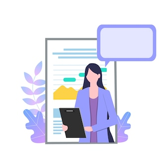 Empresaria personaje de dibujos animados con informe de presentación de charla