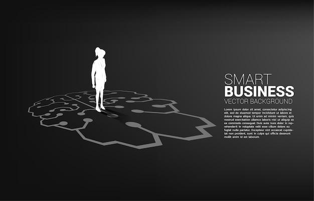 Empresaria de pie en el gráfico del icono del cerebro en el piso.