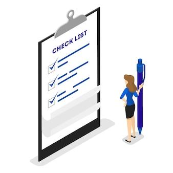 La empresaria de pie en una larga lista de tareas pendientes