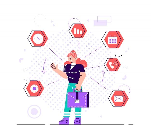 La empresaria está de pie y sosteniendo la cartera con los iconos de la oficina en el fondo. concepto de multitarea y gestión del tiempo. gestión eficaz. ilustración de diseño de estilo plano para el sitio web.