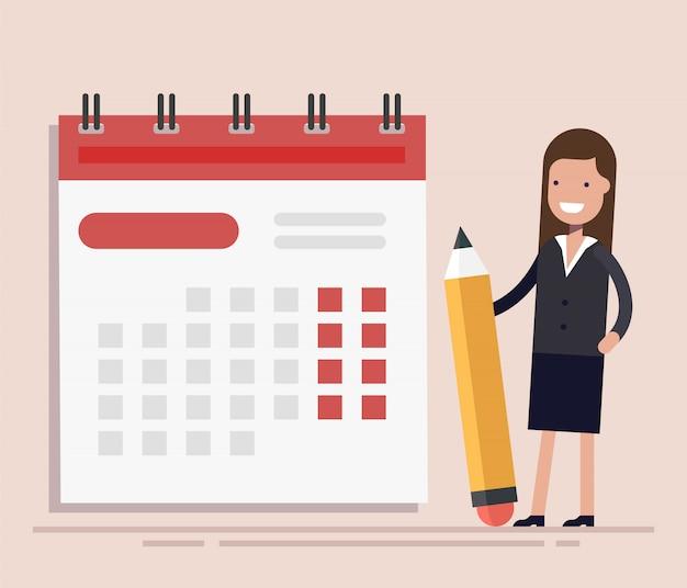Empresaria con pluma y calendario.