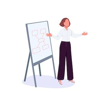 La empresaria presenta el personaje sin rostro de color plano del proyecto. orador motivacional femenino. trabajador de oficina haciendo presentación aislada ilustración de dibujos animados para diseño gráfico web y animación