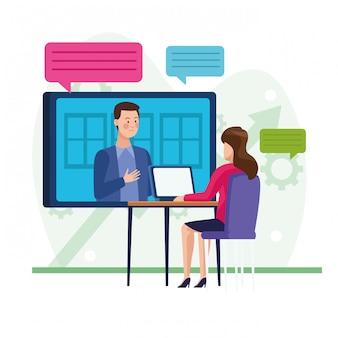 Empresaria en reunión de reunión en línea