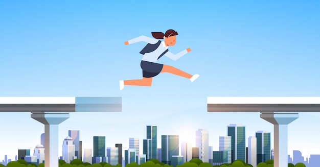 Empresaria saltando sobre brecha