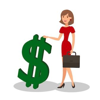 Empresaria con signo de dólar ilustración vectorial