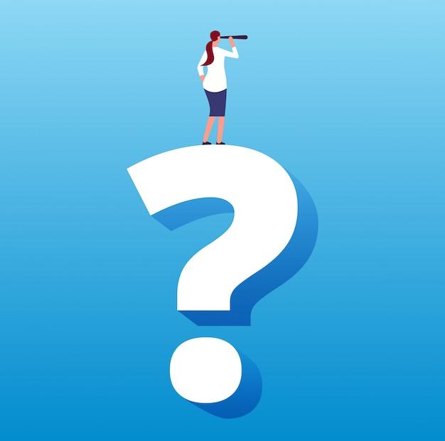 Empresaria en signo de interrogación. viaje futuro desconocido y próxima decisión, elección de estrategia y desafío comercial