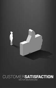 Empresaria de silueta de pie con el pulgar 3d icono. concepto de satisfacción del cliente, valoración del cliente y ranking.