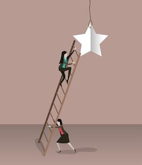 Empresaria subiendo escaleras de madera para llegar a una estrella
