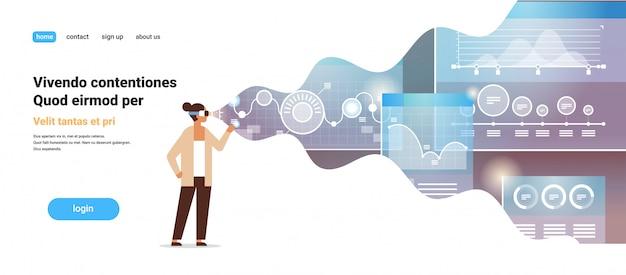 Empresaria usar gafas digitales comercio en línea realidad virtual monitoreo financiero gráfico diagrama vr visión auriculares innovación concepto