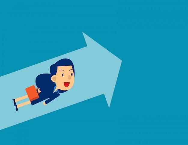 Empresaria volando hacia arriba